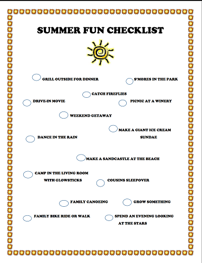 Summer Fun Family Checklist